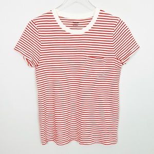 MADEWELL Brandy Crew Neck Pocket Tee S Stripe Red